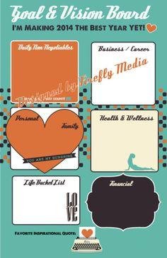 Goal Vision Board Poster- Vintage Buy this template in PDF or Jpeg form and print it from home or local print shop- then just fill in for your unique Goal & Vision Board. http://www.fireflymediaservices.com/product/goal-vision-board-poster-vintage/#!prettyPhoto