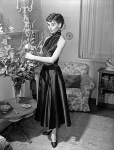 Audrey Hepburn photographed at her London home for the Sunday Pictorial, May 1953.