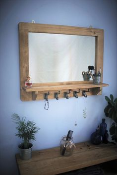 mirror with shelf & 5 iron hooks, large wooden frame in eco friendly wood - any size made - handmade rustic farmhouse style from Somerset Framed Mirror Design, Wood Framed Mirror, Mirror With Shelf, Handmade Furniture, Rustic Furniture, Bedroom Furniture, Wooden Bedroom, Furniture Ideas, Coffee Bar Home