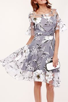 $21.51 Sweet Flare Sleeve Spliced Floral Print Dress