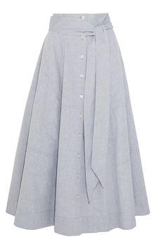 Lisa Marie Fernandez - Rock aus Baumwoll-Chambray in Patchwork-Optik Modest Skirts, Modest Outfits, Skirt Outfits, Modest Fashion, Hijab Fashion, Dress Skirt, Fashion Dresses, Cute Outfits, Chambray Skirt