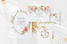 Ad: Dainty Blossom Collection by Avdeeva_arts on So excited to introduce you my new collection — Dainty Blossom Collection I am in love with these delicate colors. It is amazing how the Wedding Card Templates, Wedding Cards, Beautiful Wall, Graphic Illustration, Illustrations, Watercolor Cards, Modern Graphic Design, Beach Themes, Floral Motif