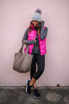haute off the rack, adidas alpha bounce running shoes, FinishLine, running shoes, rose gold headphones, metro backpack, MZ wallace, MZ wallace tote, tote, black crop leggings, black down vest, pink down vest, vest, 1/4 grey zip pullover, pullover, workout wear, grey pom beanie, active wear outfit, raybans, fall style