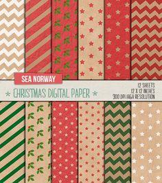 Papel digital  papel de navidad digital  papel para por seanorway