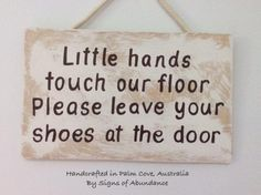 Shoes off baby sign to leave shoes at the door - Little Hands touch our floor