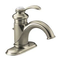 KOHLER Fairfax Vibrant Brushed Nickel 1-Handle 4-in Centerset WaterSense Bathroom Faucet (Drain Included)