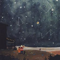 look at the stars Art And Illustration, Gouache, Chef D Oeuvre, Posca, To Infinity And Beyond, Les Oeuvres, Art For Kids, Street Art, Images