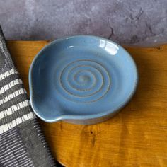 Rustic Spoon Rest in Blue Grey Glaze with Spiral Marks Ladle | Etsy Rustic Spoons, Wooden Spoons, How To Make Clay, Incense Holder, Incense Sticks, Different Textures, Ceramic Planters, Stoneware Clay, Spoon Rest
