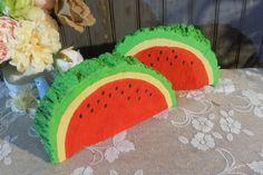 Log Slice Watermelon Shelf Sitter - Wood Watermelon - Rustic Summer - Rustic Garden - Rustic Kitchen Decor - Primitive Watermelon