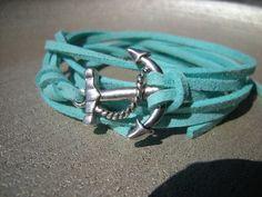 Anchor Wrap Bracelet, Anchor Aqua bracelet, Silver tone Anchor Mint suede cord Bracelet, Anchor charm bracelet NICKEL FREE. $4.10, via Etsy.