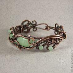 "Fair Masters - handmade bracelet and earrings set ""Wild Grass"". Copper Wire Jewelry, Wire Jewelry Designs, Copper Bracelet, Jewelry Sets, Beaded Jewelry, Handmade Jewelry, Jewelry Making, Jewellery, Wire Wrapped Bracelet"