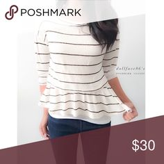 """Anthropologie HI5 St CL Cute Retro Peplum This cute peplum styled top has a very retro feel. The knit is thicker & stretchy with a cream/off white and black striped pattern. The sleeves are quarter inch & the back has a cute tie on the neck. {actual color of item may vary slightly from pics}  *chest:19.5"""" *waist:18"""" *length:24"""" *sleeves:17"""" *material/care:polyester rayon spandex/hand wash  *fit:might work for med  *condition:good no rips/stains/pre-loved can be staticky at time  🌸20% off…"""
