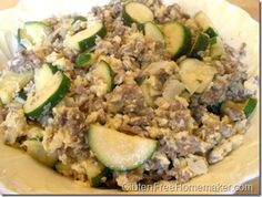 Zucchini Scramble - A flavorful low carb gluten-free meal.