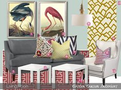 Chartreuse + Raspberry + Slate Blue Mood Board - House of Jade Interiors Blog