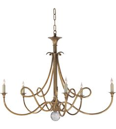 Visual Comfort Studio Twist 5 Light Chandelier in Hand-Rubbed Antique Brass SC5005HAB #visualcomfort #lightingnewyork #lighting