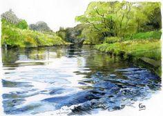 水のある風景 トレース水彩画