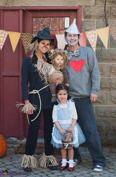 Angele: Our family (myself, my husband and our 2 kids) Chose the Wizard of Oz theme as my daughter was obsessed with Dorothy. The costumes were mostly made by me and... #halloweencostumekids