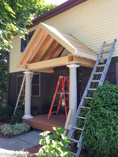 How to build a portico with round columns and vinyl maintenance free decking .   I would love to build this on our front porch.