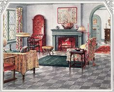 1925 Armstrong Living Room  I would like this now with hardwood floors