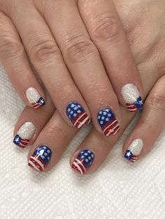 of July Flag Stars & Stripes Glitter Nails Light Elegance Buttercream (white & red) & Little Red Sled 4th Of July Nails, Fourth Of July, Red Nails, Glitter Nails, Patriotic Nails, Opi Polish, Light Elegance, Dotting Tool, Latest Nail Art