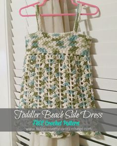 Toddler Summer Beach Dress / Cover Up from Quartered Heart Crochet Crochet Toddler, Crochet Girls, Crochet Baby Clothes, Crochet For Kids, Free Crochet, Crochet Dresses, Crochet Tops, Crochet Children, Crochet Ideas