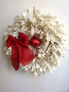 """$68  Burlap Christmas Wreath, EXTRA LARGE, 26"""" White Wreath, Holiday Wreath, Shabby Wreath, White Burlap Wreath"""