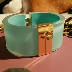 Turquoise Statement Bangle Fun and comfortable! Some scratches on gold part (see photos). Forever 21 Jewelry Bracelets