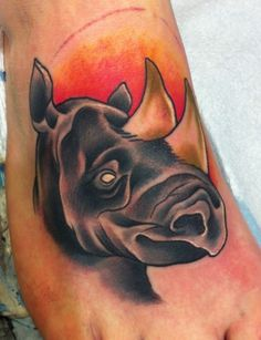 Brilliant Rhino Tattoo by Jasmine Wright from San Diego