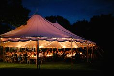 sailcloth tent with bistro lights