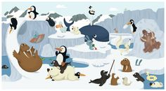 Illustrom, le Book de Romain Guyard Portfolio : Illustration édition jeunesse Artic Animals, Large Animals, Wild Animals Pictures, Animal Pictures, Edition Jeunesse, North Pole, Fauna, Winter Theme, Portfolio Illustration