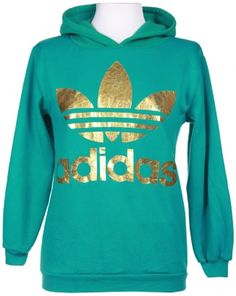 Turquoise & Gold Adidas Hoodie - Vintage clothing from Rokit -