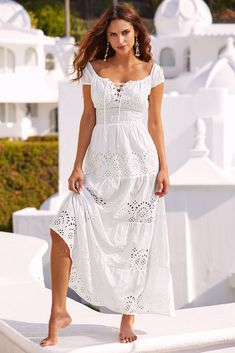 Peasant Eyelet Maxi Dress - Peasant Maxi Dress Long White Solid Short Sleeves Eyelet Crisp White Cotton Elastic Cap Sleeves Sexy Lace-up Trendy Chic Boho Bohemian Hip Hipster Casual Maxi Dress Spring Summer Reosrtwear Cruise Vacation Getaway Smocked Floral Dress Outfits, White Maxi Dresses, Casual Dresses, White Dress, Dresses Dresses, White Tulle, White Cotton Dresses, White Maxi Dress Casual, Floral Maxi
