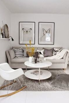 Living Dans Un Style Design Avec Des Magnifiques Illustrations Au Mur (this  Use Of Yellow In Such A Delicate Way Is Phenomenal) Grey And Yellow II Part 98