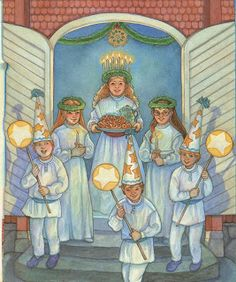 LUCIA WITH HER SHORT TRAIN OF LUCIA MAIDS AND STAR BOYS..