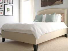 Jill Austin: Bed my husband and I made to look like the Colette bed  blue silk pillows, upholstered ...