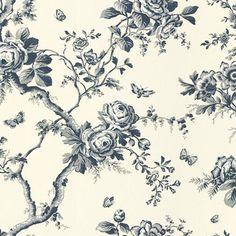Ashfield Floral - Sapphire - Florals - Wallcovering - Products - Ralph Lauren Home - RalphLaurenHome.com