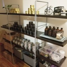 Organized little shelving for candle making Outdoor Candles, Home Candles, Organization Station, Workshop Organization, Homemade Candles, Scented Candles, Business Storage, Candle Store, Candle Making Supplies