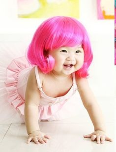 A pink baby wig? You had me at baby wig. Cute Kids, Cute Babies, Baby Kids, Baby Baby, Pink Wig, Asian Babies, Baby Wearing, Beautiful Babies, Lace Wigs