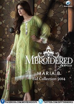 MARIA.B.'s New Mbroidered (Vol. 2) Eid 2014 Collection Available From 23rd September! http://wp.me/p47HVy-2Am #pakistan #fashion #media #style #beauty #eidulazha