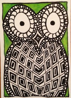 """WHooo Is It?"" Hand drawn owl zentangle ATC, ink and colored pencil."