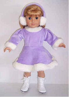"Lavender Velour Dress & Earmuffs made for 18"" American Girl Doll Clothes #DorisDollBoutique #DollClothes"