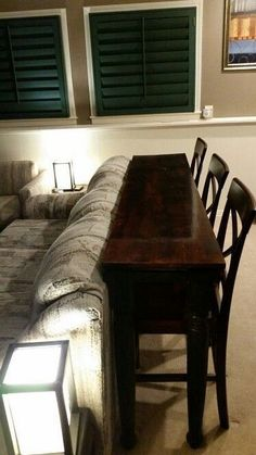 Trendy Home Bar Table Behind Couch Ideas Table Behind Couch, Small Spaces, Sofa Table Design, Family Room, Home And Living, Living Room Remodel, Home Bar Table, Home Decor, Trendy Home