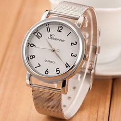 vrouwen+zilver+stalen+band+quartz+analoog+horloge+(verschillende+kleuren)+–+EUR+€+10.77