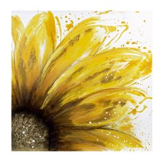 Dot & Bo Daisy Flora - Oil on Canvas ($89) ❤ liked on Polyvore featuring home, home decor, wall art, backgrounds, floral wall art, canvas wall art, paint brushes, yellow wall art and canvas home decor