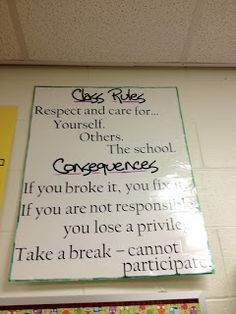 class rules and consequences Classroom Behavior Management, Classroom Procedures, Classroom Rules, Classroom Posters, Classroom Design, Classroom Displays, Classroom Activities, Classroom Ideas, Classroom Chants