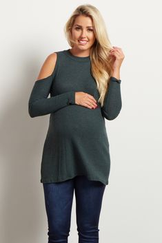 5ab7cf760fd37 Green Ribbed Mock Neck Cold Shoulder Knit Top Maternity Tops, Maternity  Fashion, Maternity Clothing