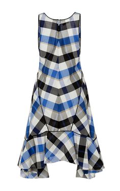 Plaid Ruffle Tank Dress by WES GORDON for Preorder on Moda Operandi
