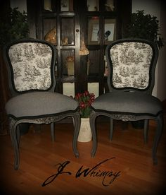 Lovely Rustic Toile French Chairs by JWhimsy on Etsy, $295.00