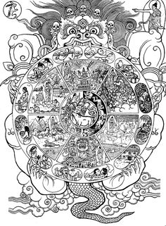 Tibetan Wheel of Life (line drawing), via www.fwbo-nyc.org