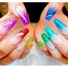 Rainbow nail art designs are very popular this season. Some women like rainbow nails. Rainbows may have different meanings in one's life. It can be a basic way to indicate life and its many stages of mental state. If you also like rainbow nails lo Rainbow Nails, Neon Nails, Dope Nails, My Nails, Sparkly Nails, Summer Acrylic Nails, Best Acrylic Nails, Summer Nails, Acrylic Nail Art